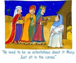 card showing three wise men saying to a breastfeeding mary - no need to be so ostentatious about it Mary, just sit in the corner